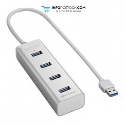 HUB USB SHARKOON 4X3.0 ALUMINIO PLATA Sharkoon 4044951016822