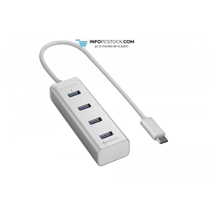 HUB USB SHARKOON 4X3.0 ALUMINIO PLATA TIPO C Sharkoon 4044951019007