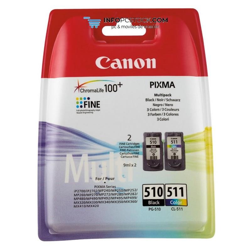 TINTA CANON PG510 CL511 PACK NEGRO CIAN MAGENTA AMARILLO Canon 2970B010