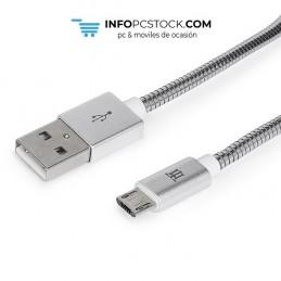 CABLE MAILLON PREMIUM MICRO USB 2,4 METAL PLATEADO 1M Maillon Technologique MTPMUMS241