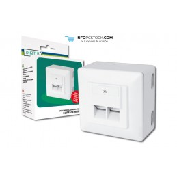 TOMA PARED DIGITUS CAT6 2XRJ45 8P8C LSA SUPERFICIE BLANCO ASSMANN Electronic DN-9006-N