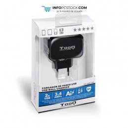 CARGADOR PARED USB TQWC-1S02 2xUSB 3.4 A(TOTAL) AI-TECH NEGRO TooQ TQWC-1S02