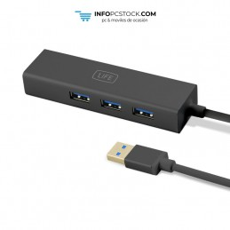 HUB USB 1LIFE 3XUSB CON PUERTO RJ45 1Life 1IFEUSBHUB3