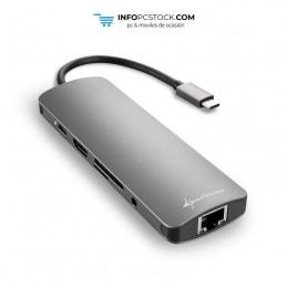 HUB USB SHARKOON 3X3.0 TIPO C,RJ45 LECTOR TARJETAS,HDMI GRIS Sharkoon 4044951026739