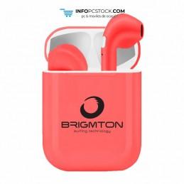 AURICULARES BRIGMTON CON BASE DE CARGA ROJO BLUETOOTH Brigmton BML-18-R