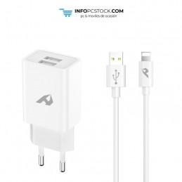 ADAPTADOR DE RED ENJOY USB 2 USB X 5V/24A CON CABLE LIGHTNING BLANCO hOme YTC-02-IP