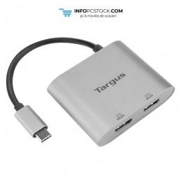 ADAPTADOR TARGUS USB-C A 2xHDMI PLATA Targus ACA947EU
